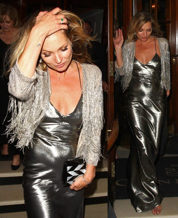 Kate Moss at the Topshop launch party at The Connaught in London, England, on April 29, 2014