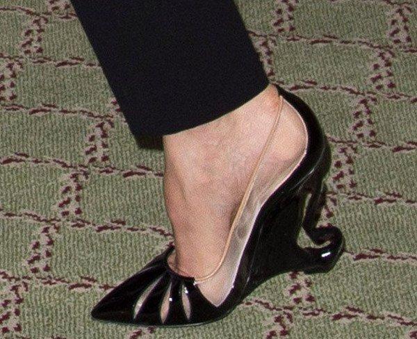 Christian Louboutin Black Swan-Heeled Pumps