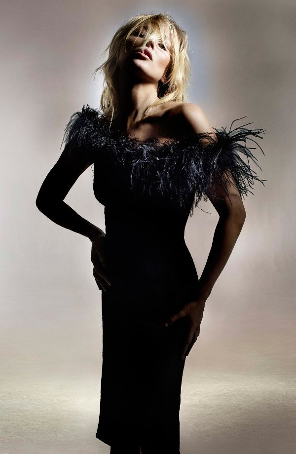Kate Moss for Topshop Feather Off Shoulder Cocktail Dress