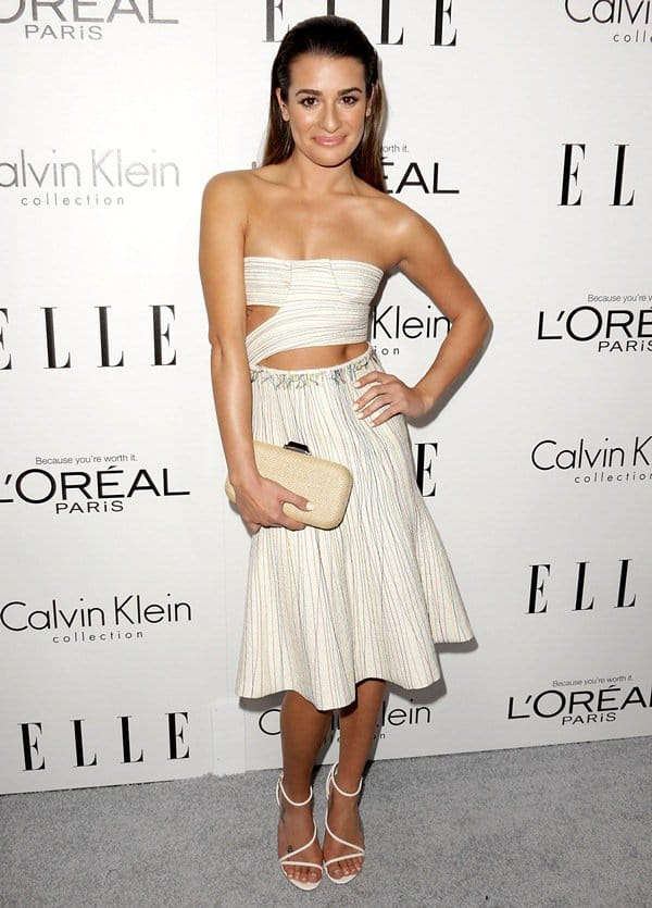 Lea Michele in a cutout Calvin Klein dress at ELLE's 20th Annual Women in Hollywood celebration