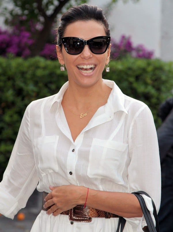 Eva Longoria arriving at the San Domenico Palace Hotel in Taormina, Italy, on June 16, 2014