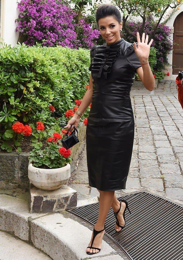 Eva Longoria wearing a fierce leather dress by Dsquared²