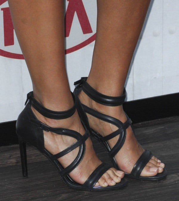 Jessica Alba wearing a strappy pair of Hugo Boss sandals