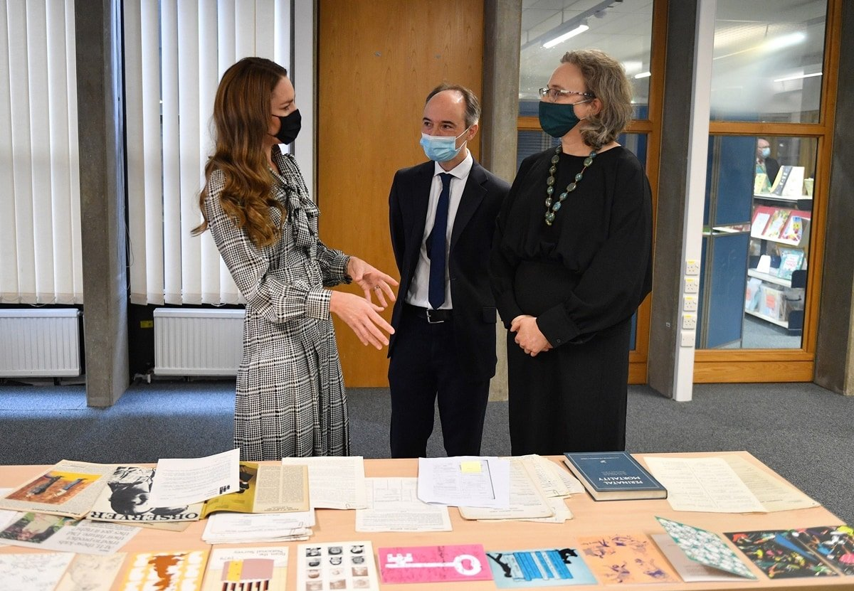 Britain's Catherine, Duchess of Cambridge, during her visit to University College London's Centre for Longitudinal Studies
