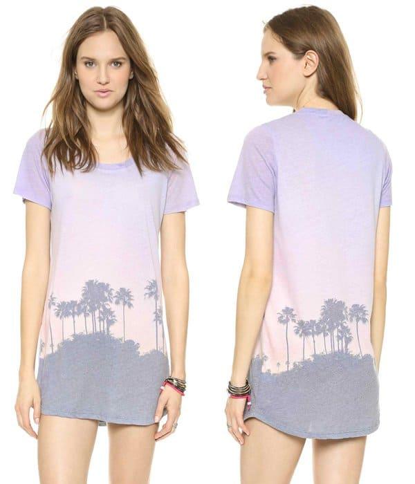 Monrow Cali Print Tshirt Dress