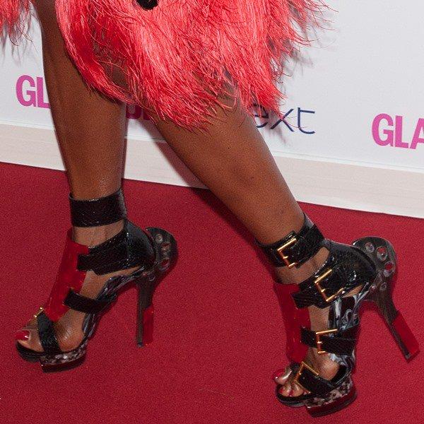 Naomi Campbell wearing Alexander McQueen gladiator sandals