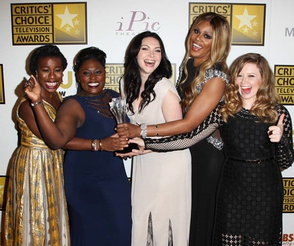 Actresses Danielle Brooks, Uzo Aduba, Laura Prepon, Natasha Lyonne and Laverne Cox of 'Orange Is the New Black,' winner of the Best Comedy Series award