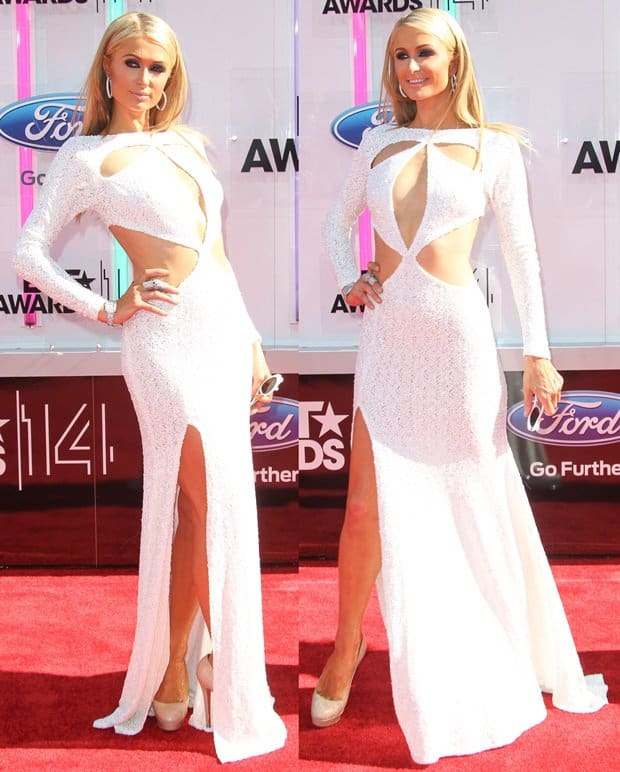 Paris Hilton's dress with a cleavage-flaunting teardrop cutout