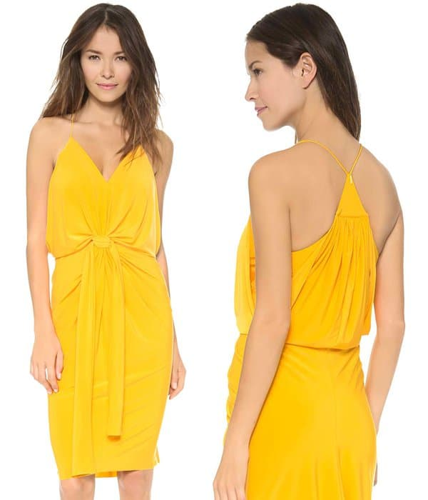 Tbags Los Angeles Knee Length Dress with Knot Detail