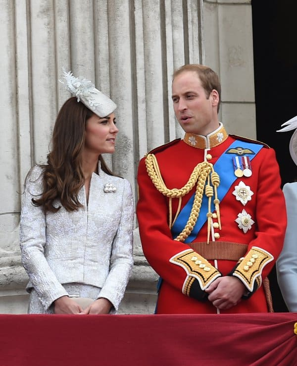 The Duke and Duchess of Cambridge getting ready for viewing the colors of the procession at The Royal Horseguards in London, England, on June 14, 2014