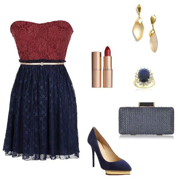 Blue and red pleated lace dress with platform pumps and accessories