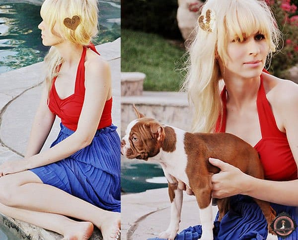 Coury shows how to colorblock in red and blue