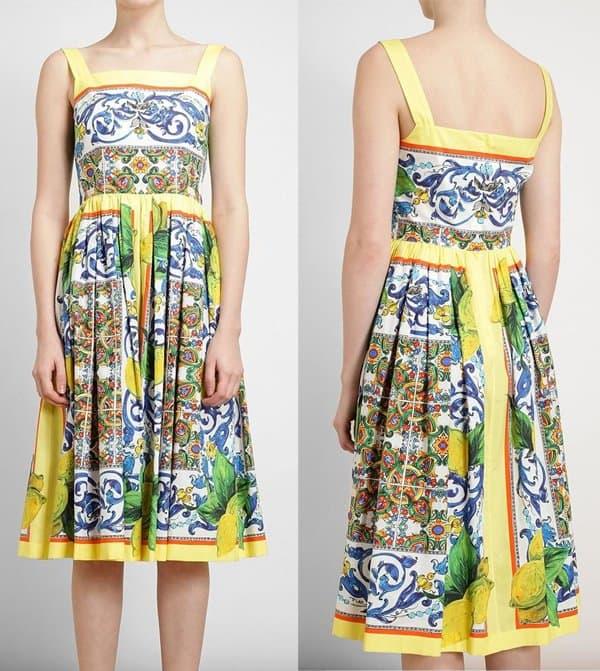 Dolce & Gabbana Tile Print Flared Dress