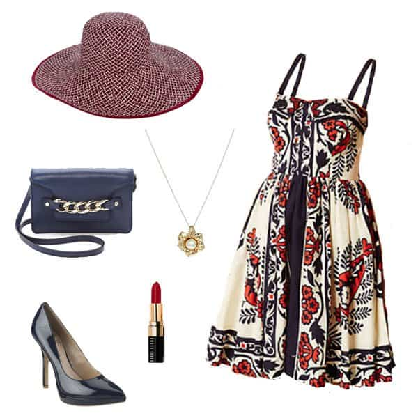 Gorgeous dress with straw hat, black pumps, and accessories