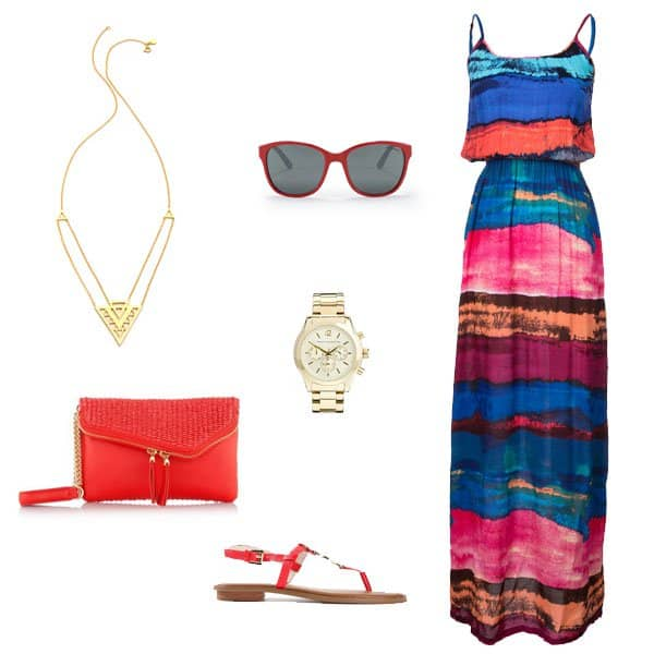 Maxi dress with red flat sandals and accessories