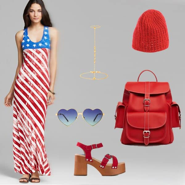 American flag dress with wedge sandals and accessories