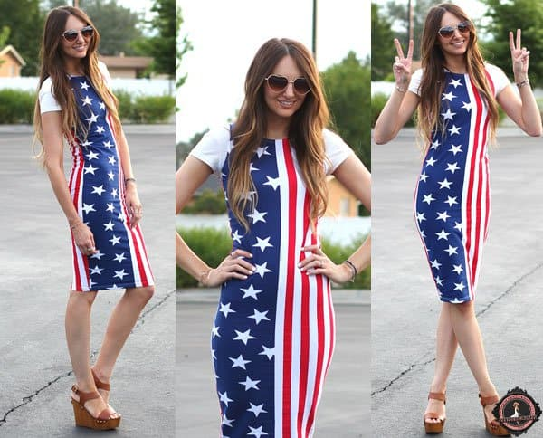Jackie wears a patriotic American flag dress with wedge heels