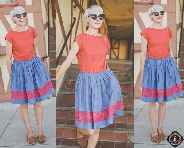Kathryn styled her chambray-and-red-themed dress with brown loafers