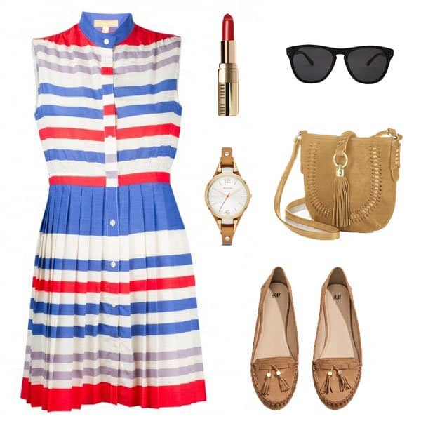 Sleeveless pleated dress with brown loafers and accessories