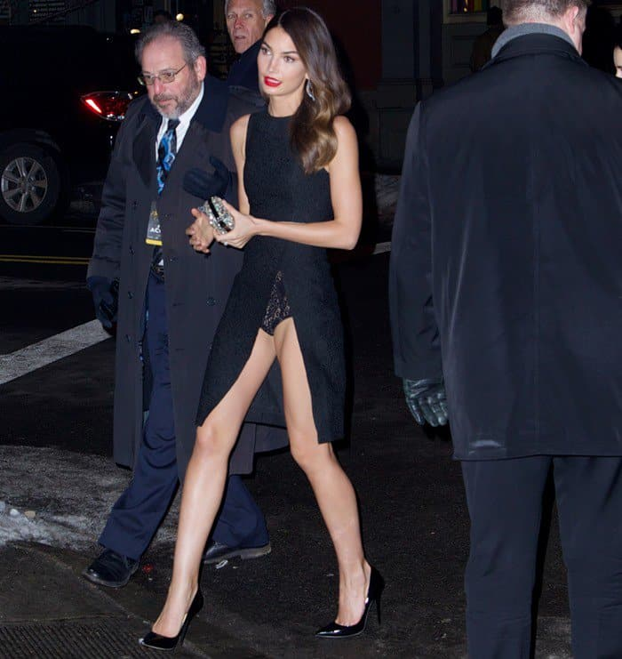 Lily Aldridge showed off her legs and lace underwear