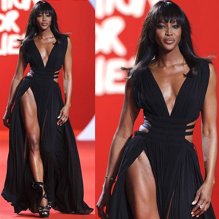Naomi Campbell pelvic bone dress