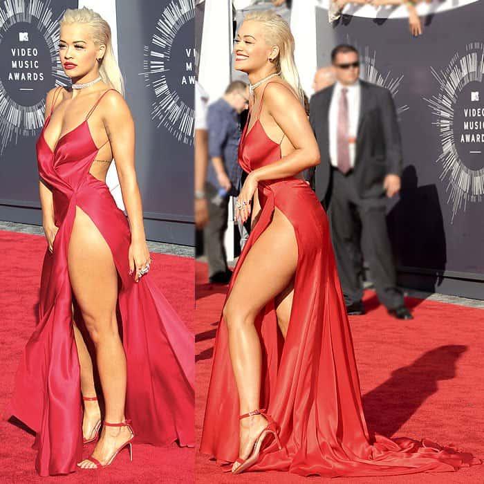 Rita Ora red high slit dress