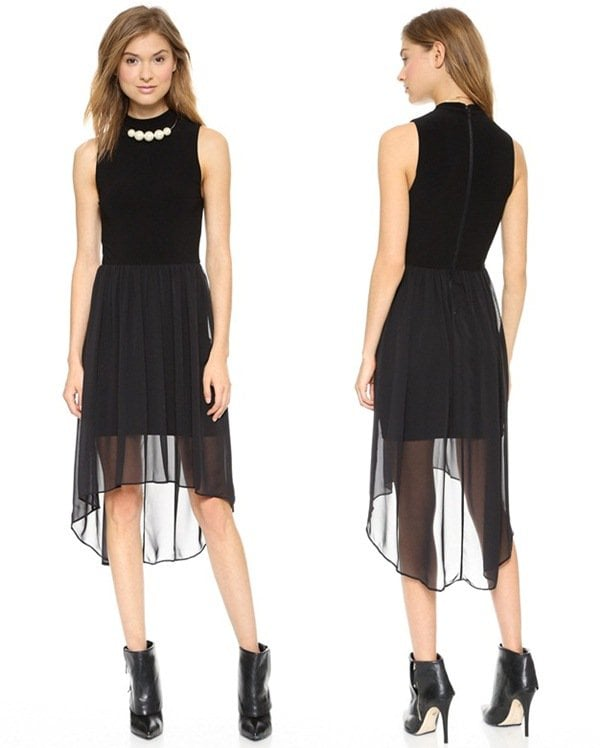 AIR by Alice + Olivia Mock Neck High Low Dress3