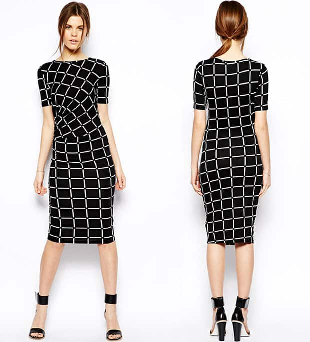 Asos Pencil Dress in Check Print with Ruched Side