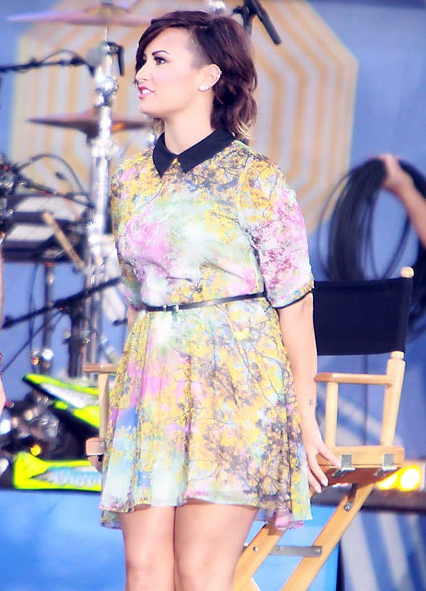 Demi Lovato rocked a floral Ted Baker printed dress