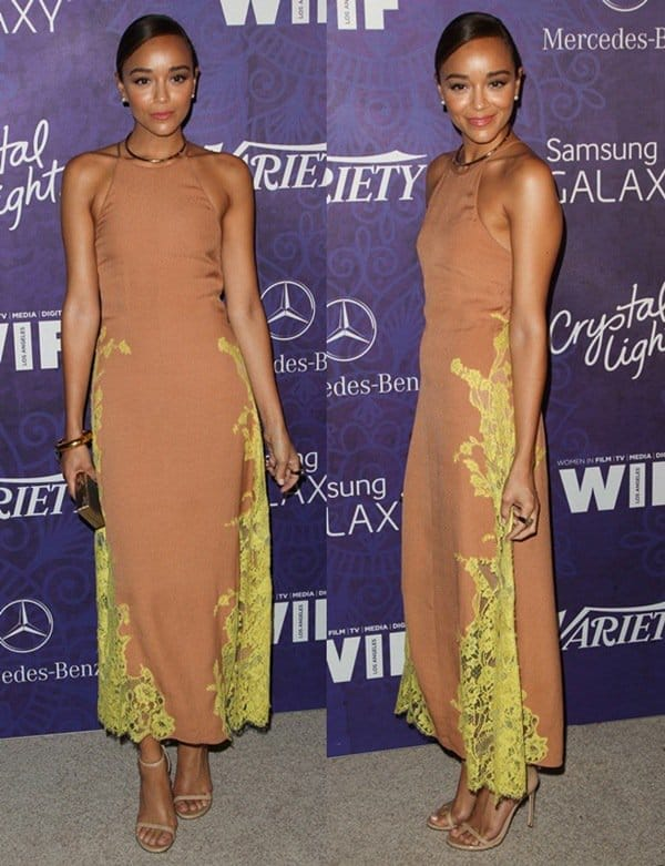Ashley Madekwe stole our hearts in Wes Gordon's nude dress and 'Nudist' heels from Stuart Weitzman