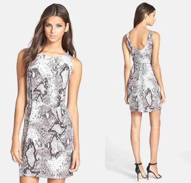BB Dakota Vickie Snakeskin Print Sheath Dress