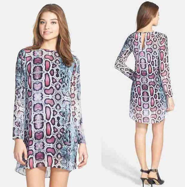 Charlie Jade Ivy Snakeskin Print Silk Tunic Dress