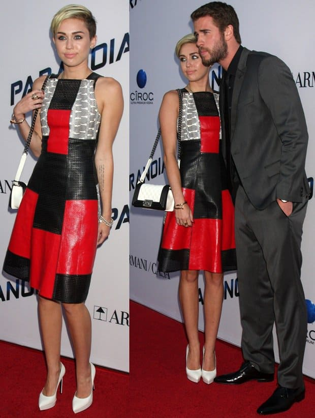 Miley Cyrus and Liam Hemsworth at the premiere of Paranoia at the DHA Theatre in Hollywood on August 8, 2013