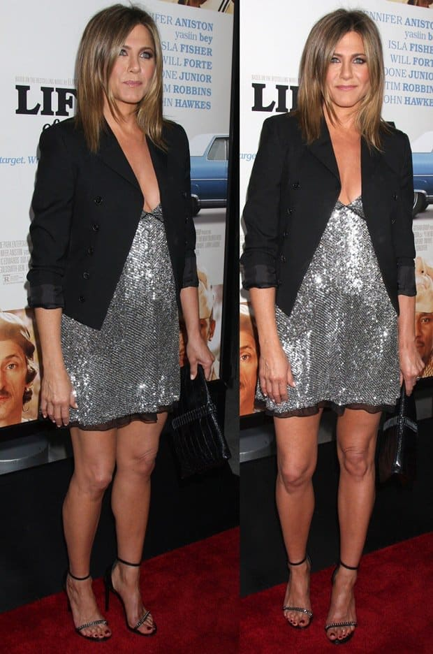 Jennifer Aniston in a silver sequin mini dress from Saint Laurent