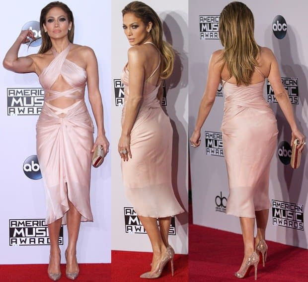 "Jennifer Lopez in a Reem Acra dress paired with an Oroton ""Frieze"" clutch, Christian Louboutin pumps and Norman Silverman jewelry"
