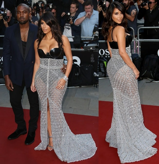 Kim Kardashian and Kanye West at the GQ Men of the Year Awards held at the Royal Opera House in London, England, on September 2, 2014