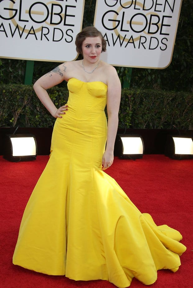 Lena Dunham at the 71st Annual Golden Globe Awards held at The Beverly Hilton Hotel in Los Angeles on January 12, 2014