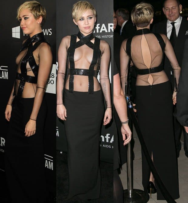 Miley shocked in a see-through top detailed with sequined bands