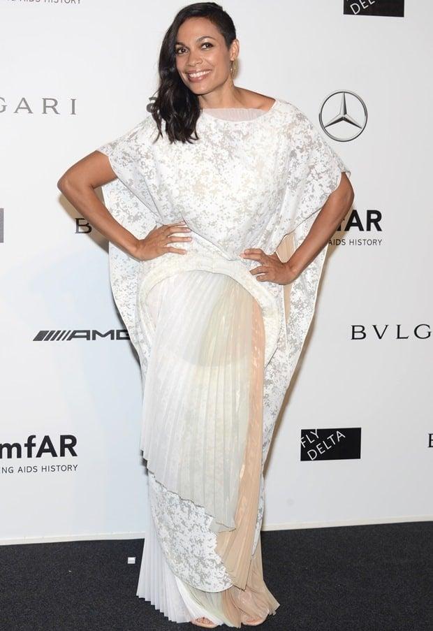Rosario Dawson attends amfAR Milano 2014 event during Milan Fashion Week Womenswear Spring/Summer 2015 on September 20, 2014 in Milan, Italy