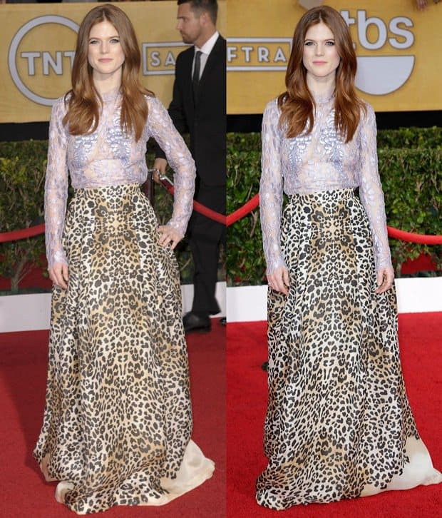 Rose Leslie wearing a leopard print skirt with a lilac lace blouse by Alice Temperley featuring applique flowers