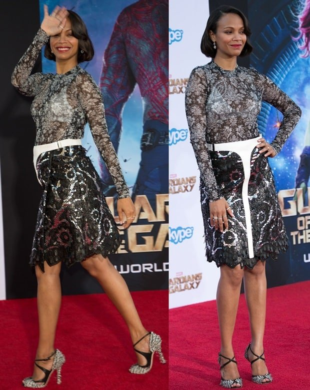 Zoe Saldana became one of the worst dressed celebrities of 2014 ina sheer floral top paired with an embellished floral skirt