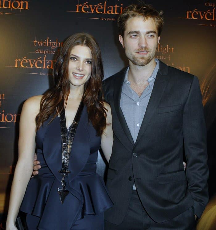 Ashley Greene and Robert Pattinson at The Twilight Saga: Breaking Dawn — Part 1 premiere at Cinema Gaumont Capucine in Paris, France, on October 23, 2011