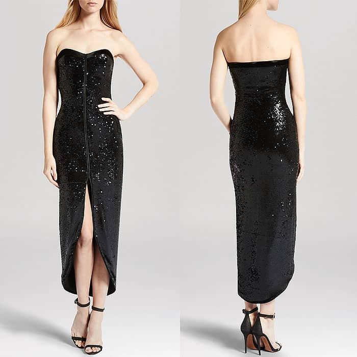 Halston Heritage Sequined Faux Wrap Strapless Dress