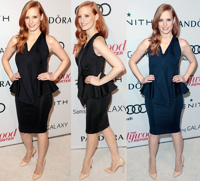"Jessica Chastain donned her sculptural peplum dress with a pair of nude Christian Louboutin ""Pigalle"" pumps"