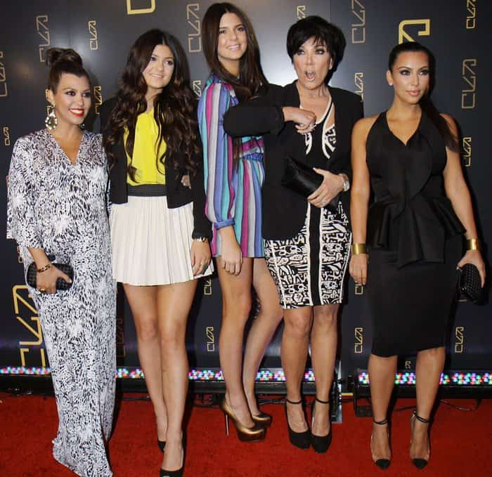Kourtney Kardashian, Kylie Jenner, Kendall Jenner, Kris Jenner, and Kim Kardashian at the RYU Restaurant Grand Opening at RYU in New York City on April 23, 2012
