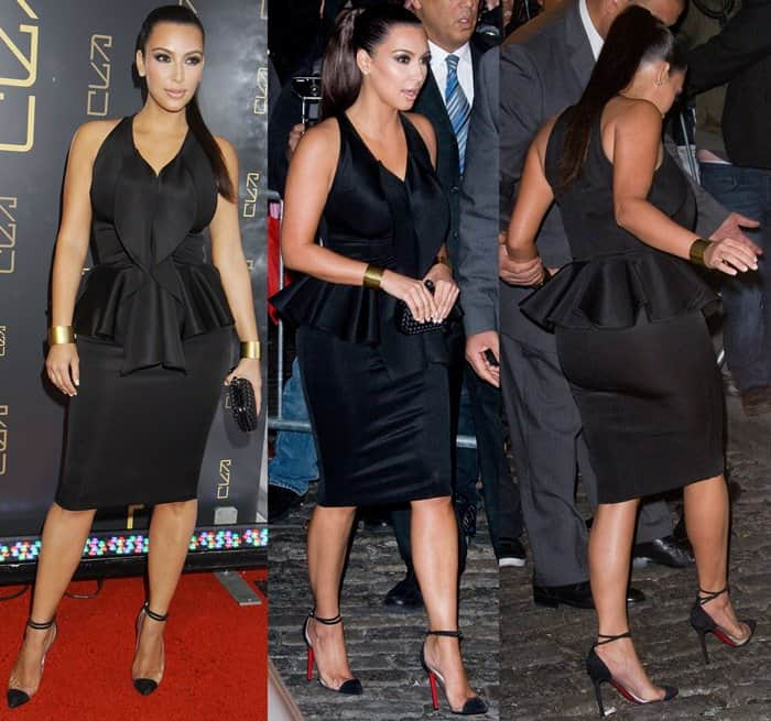 "Kim Kardashian wore her ruffled front dress with a Bottega Veneta knot clutch and Christian Louboutin ""Unbout Illusion"" pumps"