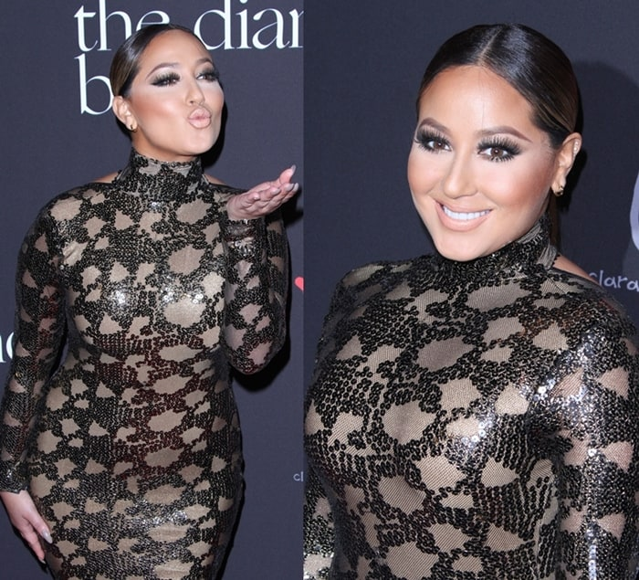 Adrienne Bailon wearing a sequined dress