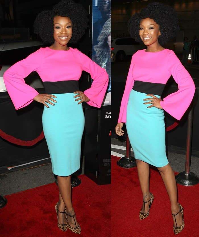 Brandy Norwood at the premiere of 'Haunted House 2' in Los Angeles on April 16, 2014