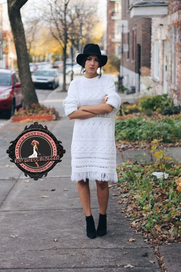 Elif is boho-chic in white sweater dress and black ankle boots
