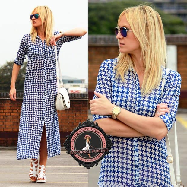 Eva is summer chic in a maxi shirtdress and strappy flatform sandals